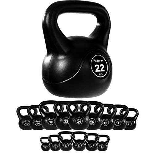 Movit Kettlebell Basic, Kugelhantel mit bodenschonender Kunststoffummantelung, 15 Varianten: 1 kg bis 24 kg, schadstoffgeprüft, Schwunghantel Kugelgewicht