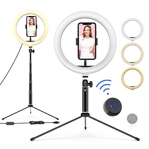 Ringleuchte mit Stativ, 10'' LED Selfie Ringlicht Stativ mit Fernbedienung, Handyhalter und 3 Farbe und 10 Helligkeitsstufen, Live Licht für Make-up, YouTube, Tiktok, und Fotografie, für iOS/Android…