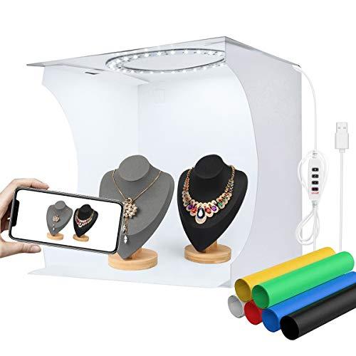 YOTTO Fotostudio Lichtzelt 33x31x31cm Tragbare Faltbare Fotografie Schießzelt Fotobox Kit mit 3200k-6500k Dimmbare 80 LED Beleuchtung 6 Hintergründe (Weiß, Schwarz, Gelb, Grün, Blau, Rot)