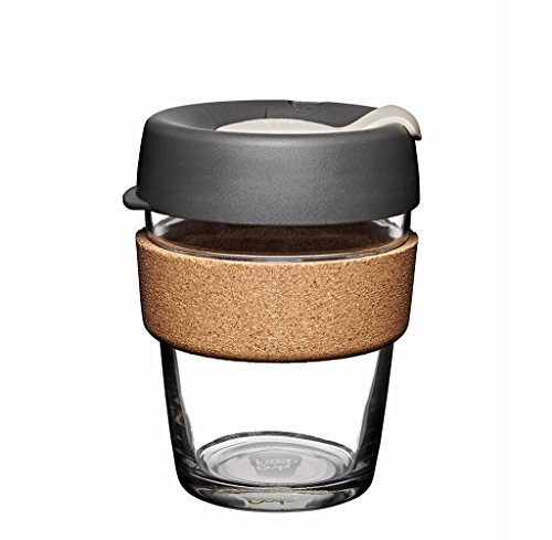 Coffee to go Becher aus Glas mit Grifffläche aus Kork - Brew Cork - Medium 340ml