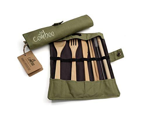comboo® - Bambus Besteck Set | Reisebesteck | umweltfreundliches Besteckset | Messer, Gabel, Löffel, Stäbchen und Strohhalm| Besteck Holz | Besteck für unterwegs inkl. Tasche I (grün, 20)
