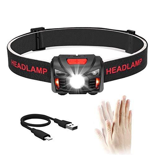Winzwon USB Wiederaufladbare LED Stirnlampe Kopflampe, Bewegungssensor Stirnlampe Kinder, Wasserdicht Leichtgewichts Mini stirnlampen Perfekt fürs Laufen, Joggen, Angeln, Campen, für Kinder