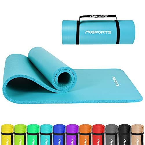 MSPORTS Gymnastikmatte Premium inkl. Tragegurt + Übungsposter + Workout App I Hautfreundliche Fitnessmatte 190 x 60 x 1,5 cm - Aquamarin - Phthalatfreie Yogamatte