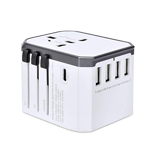 Reiseadapter Reisestecker Weltweit 224+ Ländern 5.6A Fast Charge Universal Travel Adapter mit 4 USB Ports+Typ C+AC Steckdosen Internationale Stromadapter für USA China Europa UK Thailand Usw