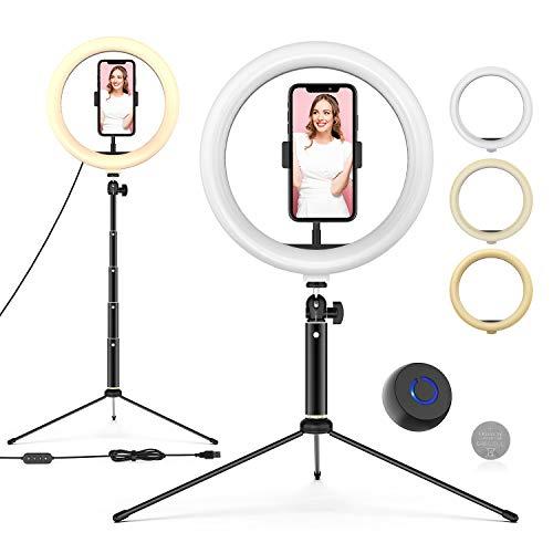 Ringleuchte mit Stativ, 10'' LED Selfie Ringlicht Stativ mit Fernbedienung, Handyhalter und 3 Farbe und 10 Helligkeitsstufen, Live Licht für Make-up, YouTube, Tiktok, und Fotografie, für iOS/Android