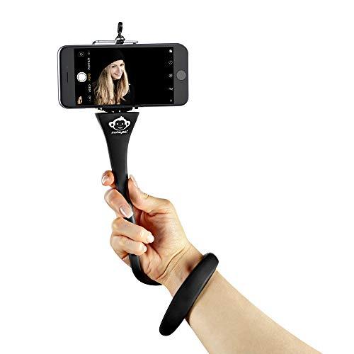 MONKEYSTICK schwarz - Biegsamer Selfie Stick für Handy & GoPro/Flexibles Stativ/rutschfeste Silikon Beschichtung