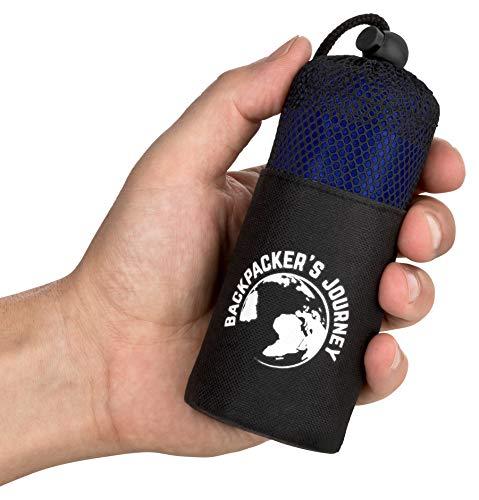 Backpacker's Journey Reiseschlafsack (nur 155g), ultraleichter und platzsparender Hüttenschlafsack aus Mikrofaser (blau)