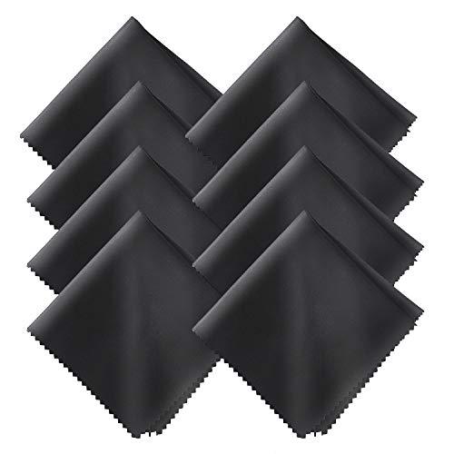 8-Teiliges Brillenputztuch-Mikrofasertücher Brillenputztuch Mikrofaser für Mobiltelefone Tablet Laptop Kameralinsen HD-Bildschirme 20x20cm_SML, schwarz