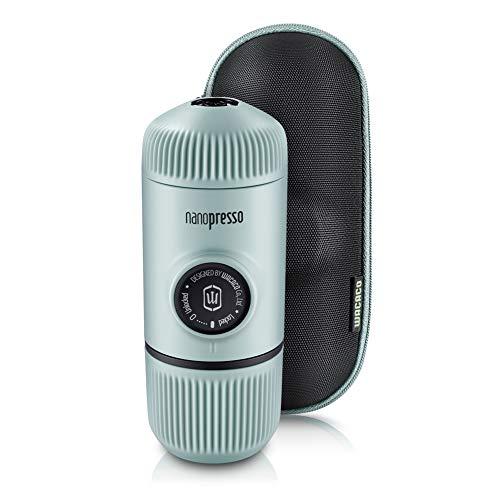 WACACO Nanopresso Tragbare Espressomaschine, mit Nanopresso S-Etui, Upgrade-Version von Minipresso, Reisekaffeemaschine, Manuell Betrieben (Neue Elemente Arktisblau)