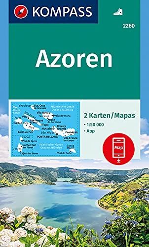 KOMPASS Wanderkarte Azoren: 2 Wanderkarten 1:50000 im Set inklusive Karte zur offline Verwendung in der KOMPASS-App. (KOMPASS-Wanderkarten, Band 2260)