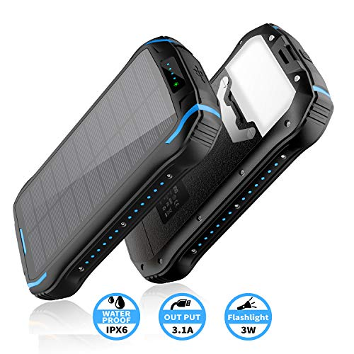 Elzle Solar Ladegerät 26800mAh, Solar Power Bank 15W Ausgabe(5V/3A) schnelles Aufladen Tragbarer wasserdichter externer Backup-Akku mit 18 integrierte LED-Leuchten für iOS, Samsung Galaxy und mehr
