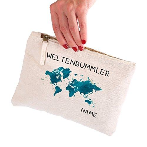 Herz & Heim® kleine Kulturtasche mit Wunschnamen für Weltenbummler