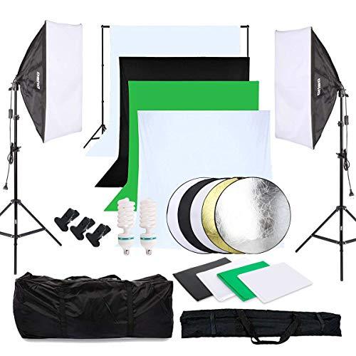 OUBO Fotostudio Set 4X Hintergrundstoff (schwarz, 2X weiß, grün), Softbox Studioleuchte Studiosets für Anfänger, Hintergrund Fotoleinwand inkl. 5in1 Reflektor 60cm