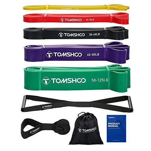 TOMSHOO Fitnessbänder Set, Resistance Bands, Fitnessbänder Widerstandsbänder 100% Naturlatex Gymnastikband Pull Up Bänder Resistance Loop für Krafttraining und Fitness