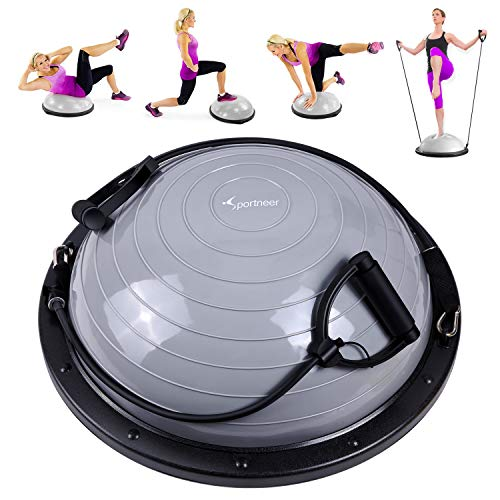 Sportneer Balance Ball, Balance Board mit Widerstandsbändern, Balance Trainer Bonus-Pumpe für Yoga Fitness, Stabilitäts-Training, Krafttraining, Physiotherapie & Fitness-Studio