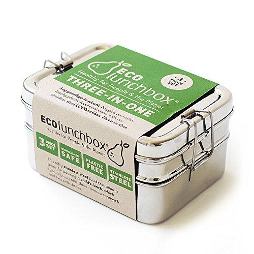 ECOlunchbox Three-in-One, 3-teilige Brotdose aus Edelstahl , Lunchbox , Bento Box