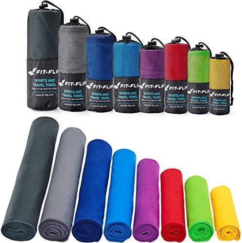 Fit-Flip Sporthandtuch, Reisehandtuch, Microfaser-Badetuch, XXL Strandhandtuch, Sauna Microfaser Handtuch groß (2X 30x50cm blau + 1 Tasche)