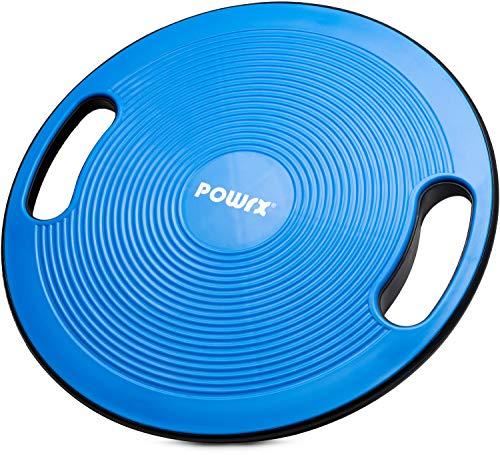POWRX Balance Board inkl. Workout I Wackelbrett Ø 40cm mit Griffen I Therapiekreisel für propriozeptives Training und Physiotherapie versch. Farben Royal Blue