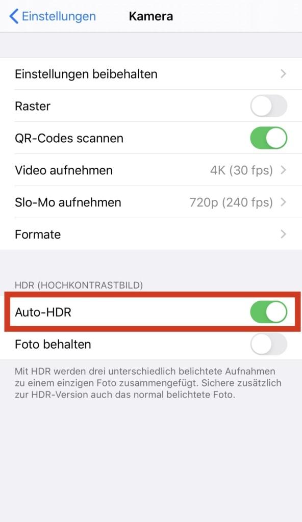 Auto-HDR in der iPhone Kamera Einstellung aktivieren