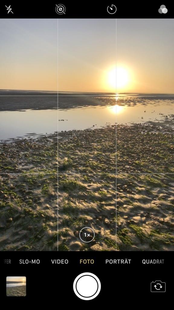 Drittelregel Raster in der Kamera App
